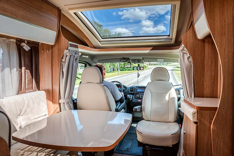 interior of a recreation vehicle on a road trip after passing an RV inspection
